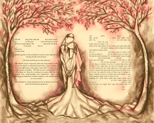 Mystical Forest in Vintage Rose Ketubah